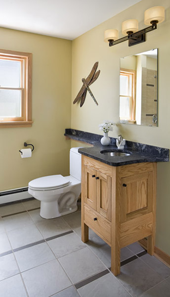 Small bathroom with small custom vanity